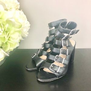 Jessica Simpson Black Leather Sandal Heels 8